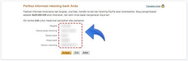 Informasi Bank Yang sudah di input