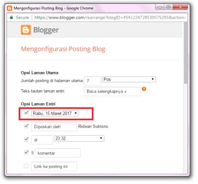 Seting tanggal postingan blog