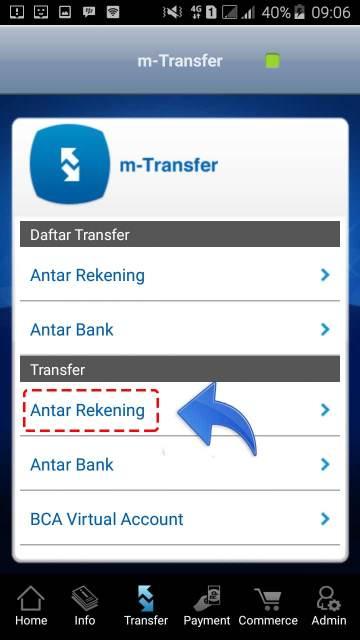Cara melakukan tranfer m-banking BCA