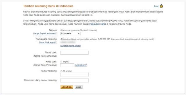 Input nama, rekening dan kode bank