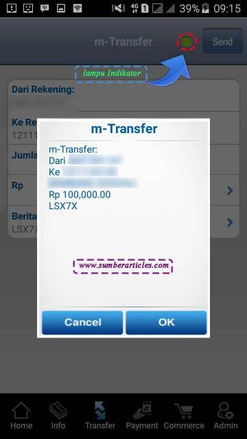 Informasi tranfer uang m-banking